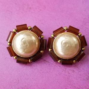 Vintage clip earrings pearl brown bead gold tone